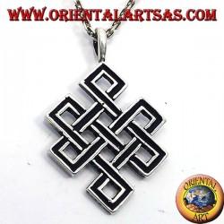 Pendentif noeud sans fin ou en argent tibétain Srivatsa