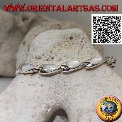 Bracelet en argent avec 11 nacre en forme de poire sur plaques d'argent