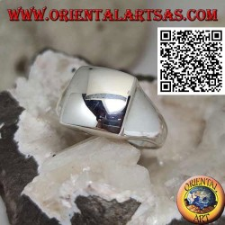 Smooth silver ring with raised convex square 14 * 14