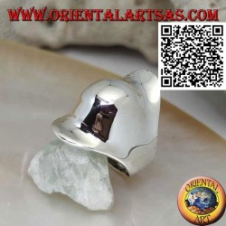 Smooth silver ring in the shape of an armor cap