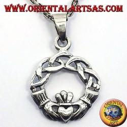 Pendentif claddagh avec noeud celtique argent