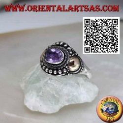 Silver ring with oval amethyst, balls and gold disk sheets