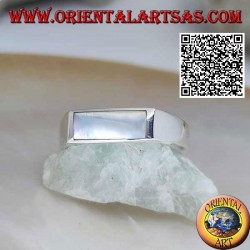Silver ring with horizontal rectangular mother of pearl close to the edge on a smooth setting