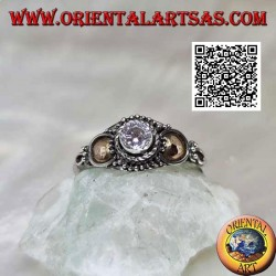 Ethnic silver ring with round zircon and gold discs