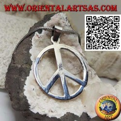 Silver pendant in the shape of a smooth peace symbol (Ø 40 mm.)