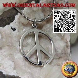 Silver pendant in the shape of a smooth peace symbol (Ø 27 mm.)