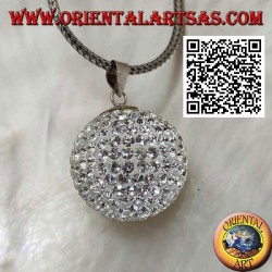 "Silver pendant ""Call of the Angels"" studded with white zircons (Ø 20 mm.)"