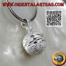 """Call of the Angels"" sandblasted silver pendant cut by double diamond band (Ø 14mm.)"