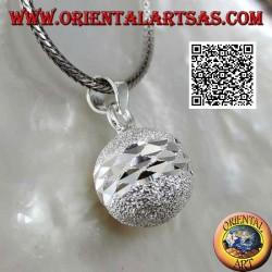 """Ciondolo in argento """"Chiama Angeli"""" sabbiato tagliato da doppia fascia diamantata (Ø 14mm.)"""