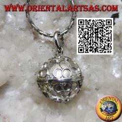 """Ciondolo in argento """"Chiama Angeli"""" con cerchietti a fiore in rilievo (Ø 12mm.)"""