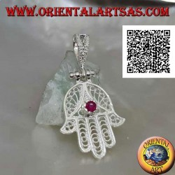Hand of Fatima silver pendant with perforated ethnic decoration and set ruby-colored zircon