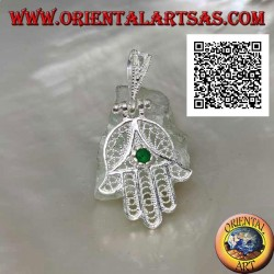 Hand of Fatima silver pendant with perforated ethnic decoration and emerald-colored zircon set