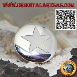 Silver ring with mother of pearl star on large smooth round plate