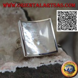 Concave square silver ring with mother-of-pearl set flush with the edge