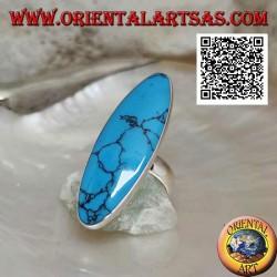 Anello in argento con turchese ovale allungato incastonato a filo bordo liscio