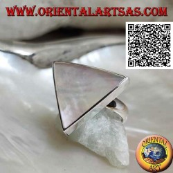 Silver ring with large triangular mother-of-pearl set in smooth edge