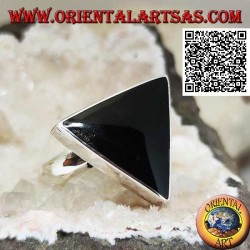 Silver ring with large triangular onyx set in smooth edge