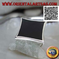 Silver ring with concave rectangular onyx narrow on the sides with smooth edge