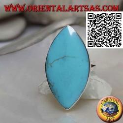 خاتم فضي بحافة ملساء فيروزية بيضاوية الشكل