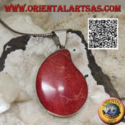 Silver pendant with red coral (coral) with curved drop on smooth setting