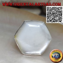 Silver ring with hexagonal mother-of-pearl set with smooth edge (adjustable)