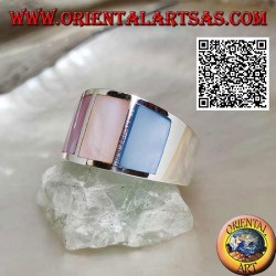 Silver ring with smooth band with three multicolour mother-of-pearl set flush (1)