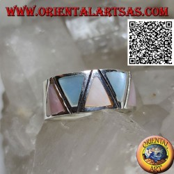 Silver ring smooth band with triangular multicolor mother-of-pearl set flush