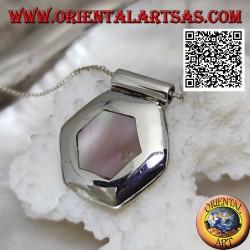 Ciondolo in argento con madreperla esagonale a filo bordo su montatura liscia