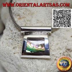 Ciondolo in argento con paua shell (abalone) su montatura liscia a filo e gancio tubolare