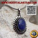 Silver pendant with oval lapis lazuli surrounded by balls and discs