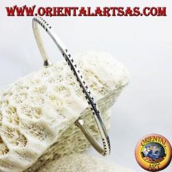 pulsera hecha a mano de plata sólida ronda
