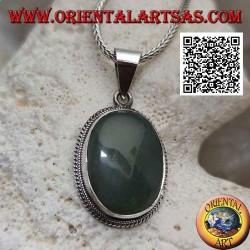 Ciondolo in argento con avventurina ovale contornata da intreccio
