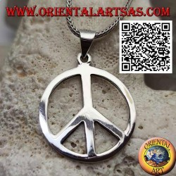 Silver pendant in the shape of a smooth peace symbol and large hook (Ø 28 mm.)