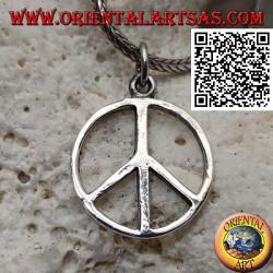 Ciondolo in argento a forma di simbolo della pace liscio e sottile (Ø 18 mm.)