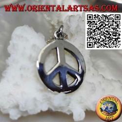 Ciondolo in argento a forma di simbolo della pace liscio e spesso (Ø 18 mm.)