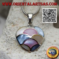 Silver pendant in the shape of a heart with multicolor mother-of-pearl mosaic of semicircles
