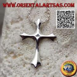 Silberanhänger in Form eines glatten dreizackigen Kreuzes mit Haken auf der Rückseite