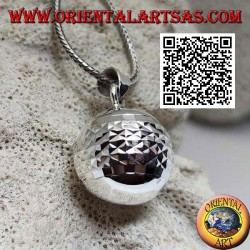 """Silver pendant """"Call of the Angels"""" with diamond processing (Ø 20mm.)"""