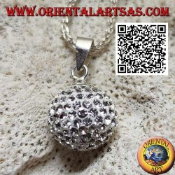Silver sphere pendant studded with white zircons (Ø 11 mm.)