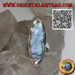 Silberring mit einer länglichen ovalen Paua-Schale (Abalone) mit einer glatten Kante (16)