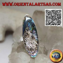 Silver ring with an elongated oval paua shell (abalone) set with a smooth edge (13)