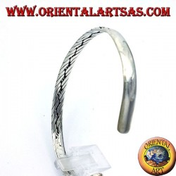 bracciale rigido con intrecciato fatto a mano in argento