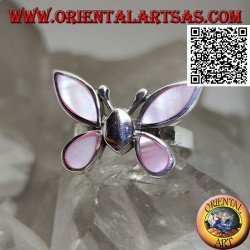 Silver ring in the shape of a butterfly with pink mother-of-pearl wings