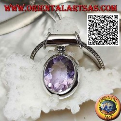 Silver pendant with a splendid oval faceted natural amethyst on a smooth setting and movable tubular hook