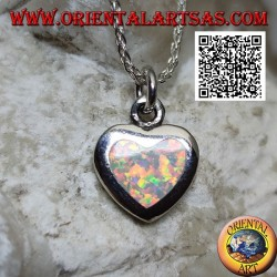 Silver pendant in the shape of a heart with a smooth edge harlequin opal