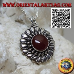 Silver pendant with round carnelian surrounded by balls and alternating smooth drops