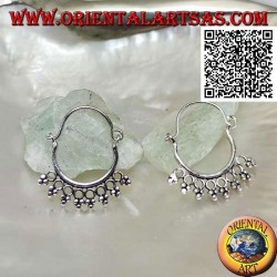 Silver earring, circle with circles and trio of balls and 14 mm bow closure