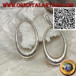 Satin silver earrings with oval growing pendant