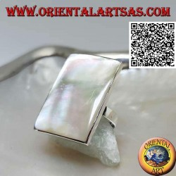 Silver ring with rectangular mother-of-pearl with smooth edge (adjustable)