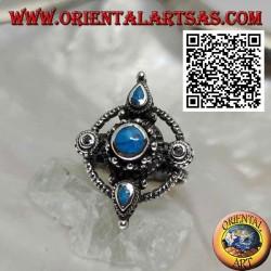 Silberring mit rundem und tropfenförmigem türkisfarbenem Kreuz auf einem Kreis